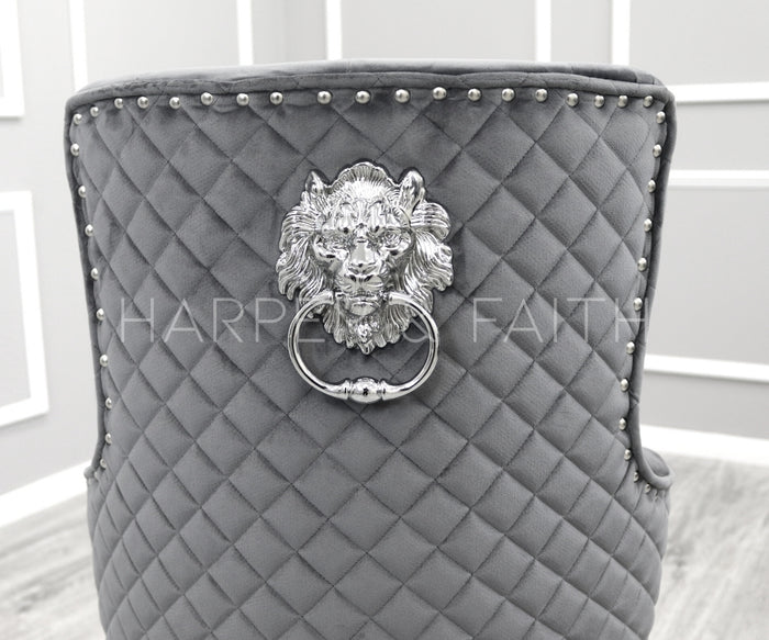 Bentley Quilted Back Lion Knocker Bar Stool - Set of two