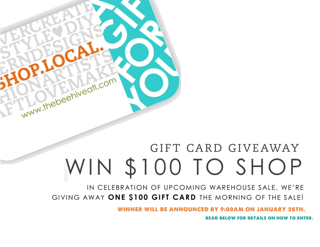 $100 gift card giveaway for the Warehouse Sale