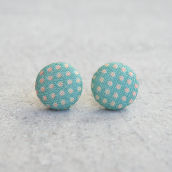 Rachel O's - Tropical Dots Fabric Button Earrings