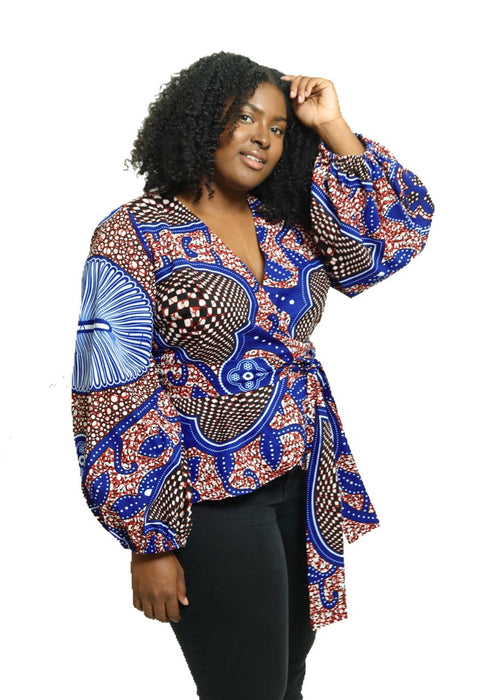 African Print Wokie Wrap Blouse - Peppermint - suakoko betty
