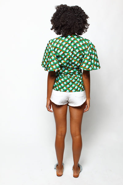 African Print Lango Wrap Blouse - Ruby - suakoko betty