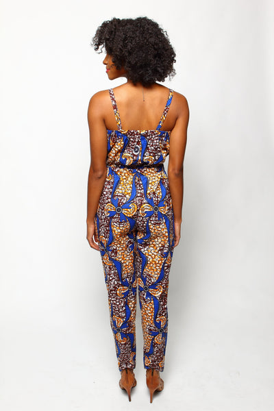 African Print Cece Jumpsuit - Cinnamon - suakoko betty