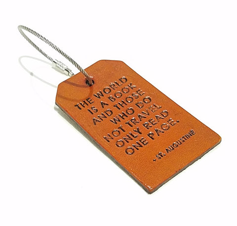 Luggage Tag - St. Augustine Quote The World is a Book