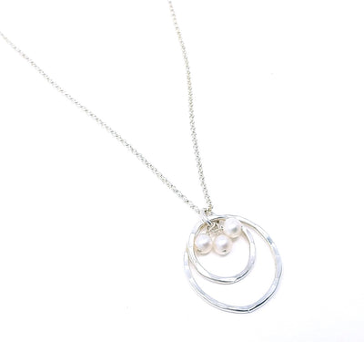 Double Ring & Pearl Pendant - Sterling Silver