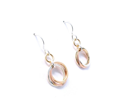 Mini Trio Earrings - Mixed Metals