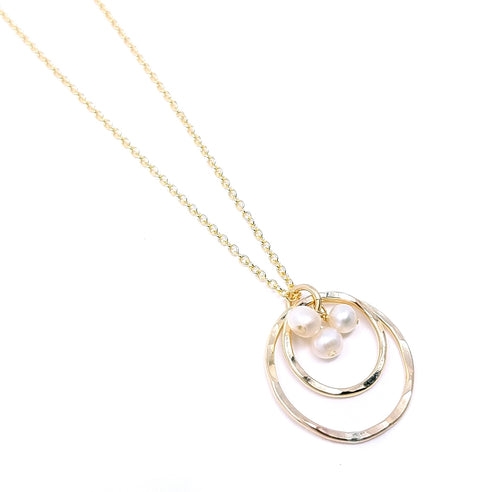 24eecd2d1 Double Ring & Pearl Pendant - Gold-Filled