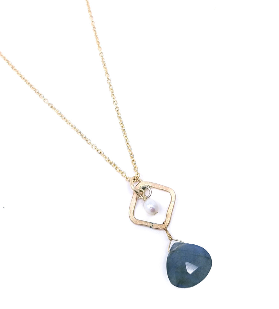 230a52251 diamond link and stone pendant - gold-filled