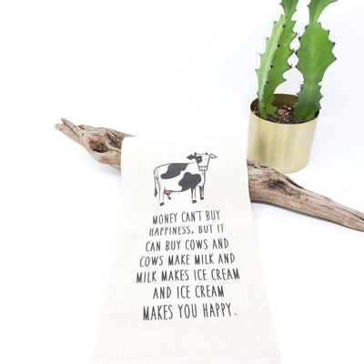 Tea Towel - Money Can't Buy You Happiness