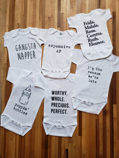 Baby Onesie - Strong Women: Frida, Malala, Rosa, Coretta, Ruth, Eleanor.