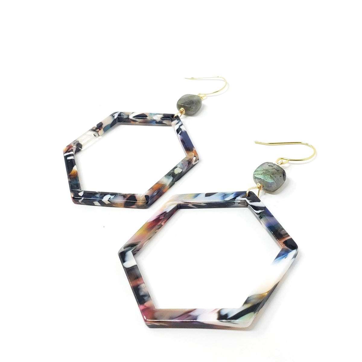 Cannes Acrylic Earrings -Multi Hex