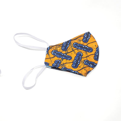 Mask - Full Cover Comfortable Head Straps - Orange Ankara Teen Mask