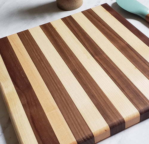 Almost Square Wood Cutting Board - Maple + Walnut