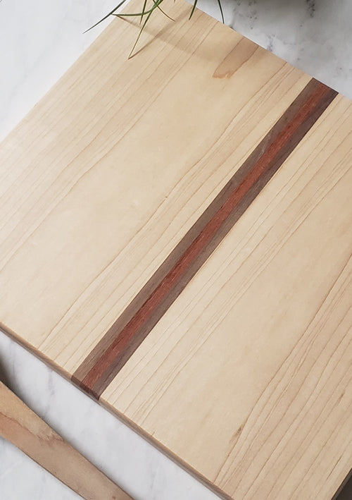 Almost Square Cutting Board - Middle Stripe Cherry + Maple + Walnut