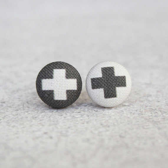 Rachel O's - Swiss Cross Fabric Button Earrings