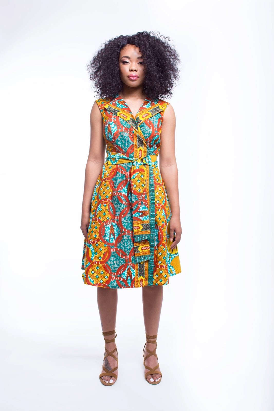 African Print Chima Wrap Dress - Gold Coast - suakoko betty