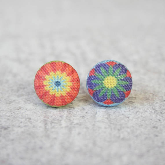 Rachel O's - Pop Flowers Fabric Button Earrings