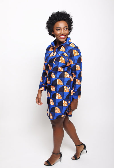 African Print Bae Shirtdress - Cobalt - suakoko betty