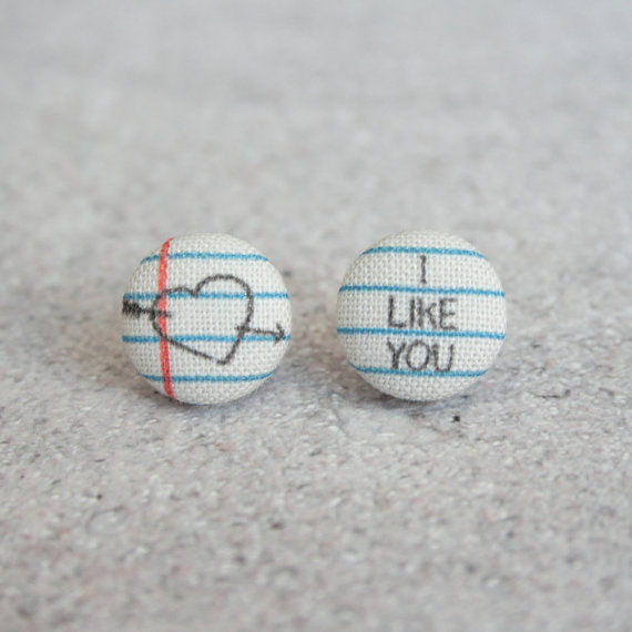 Rachel O's - Love Note Fabric Button Earrings