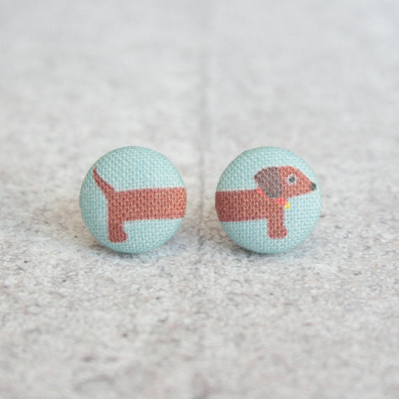 Rachel O's - Long Dog Fabric Button Earrings