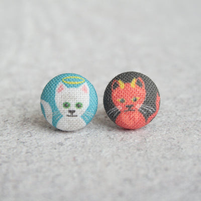 Rachel O's - Good and Evil Kitties Fabric Button Earrings