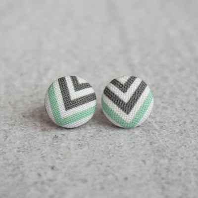 Rachel O's - Black White and Teal Chevron Fabric Button Earrings