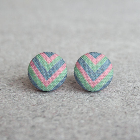 Rachel O's - Pastel Chevron Fabric Button Earrings
