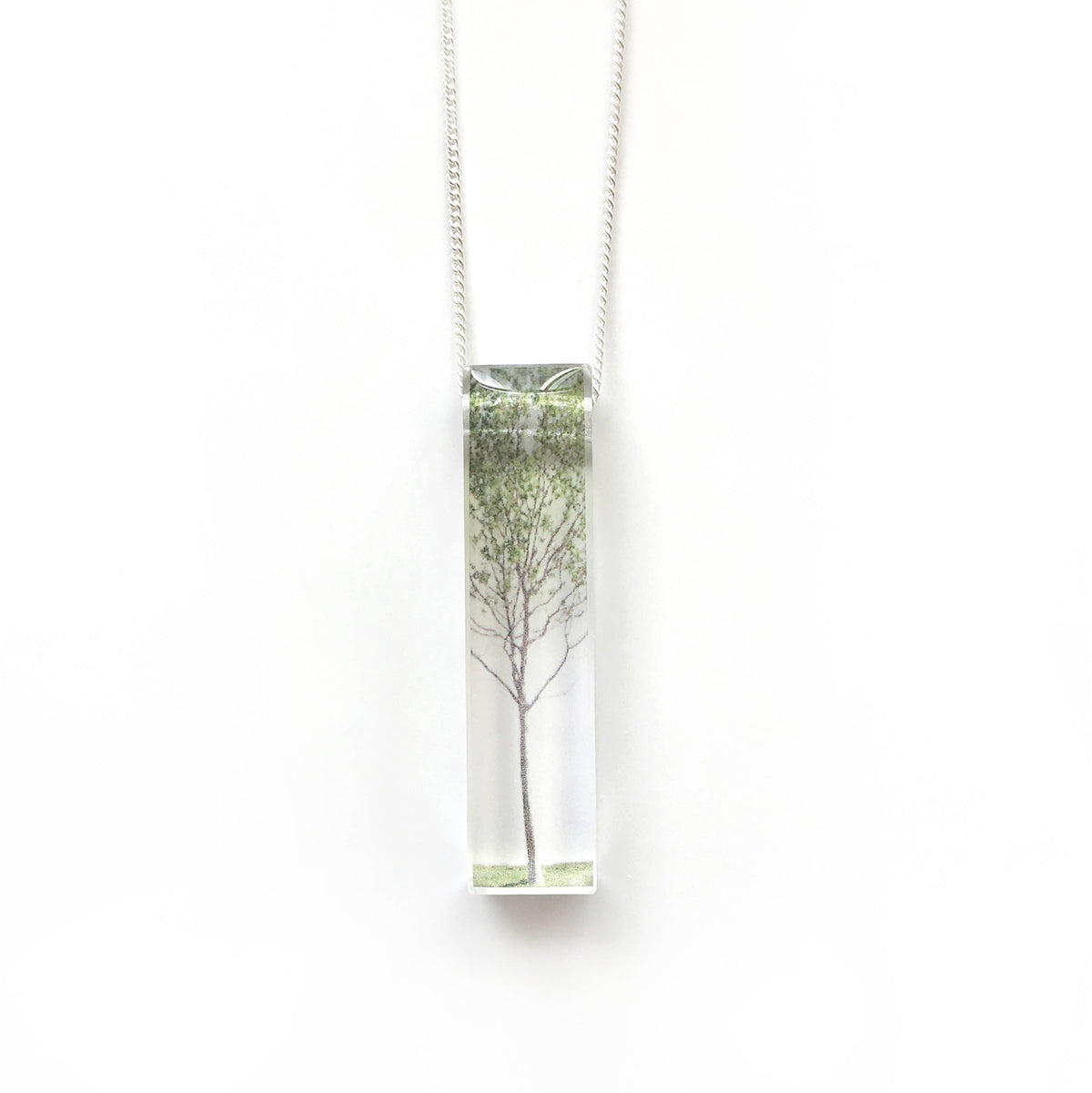 Black Drop Designs - Skinny Green Tree Necklace