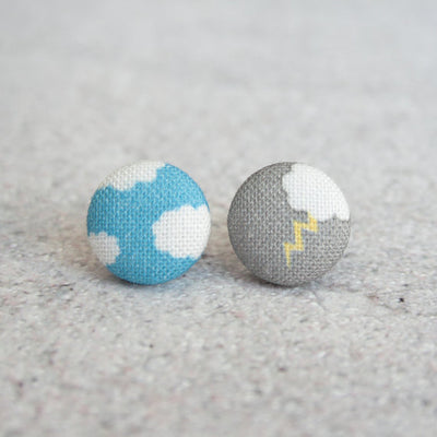 Rachel O's - Fifty Percent Chance Fabric Button Earrings