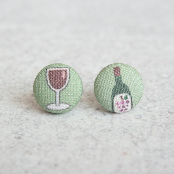 Rachel O's - Red Wine Fabric Button Earrings