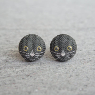 Rachel O's - Black Cat Fabric Button Earrings