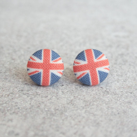 Rachel O's - Union Jack Fabric Button Earrings