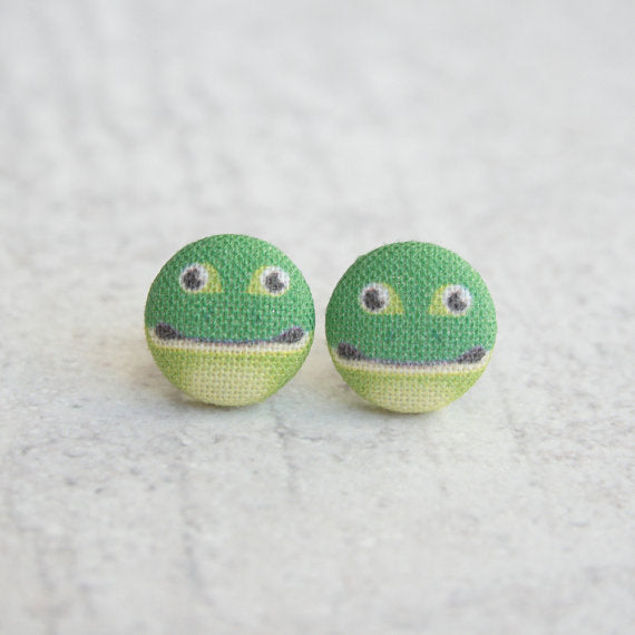 Rachel O's - Frog Fabric Button Earrings