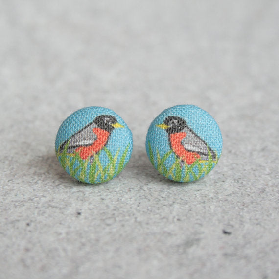 Rachel O's - Robin Fabric Button Earrings