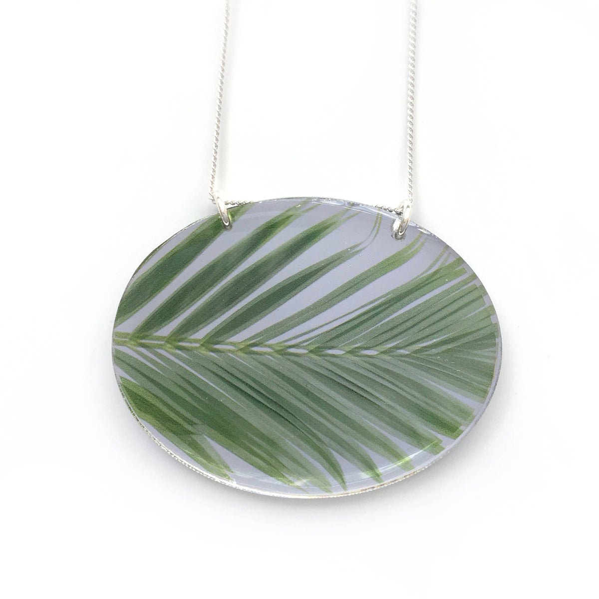 Black Drop Designs - Mirror Oval Palm Necklace