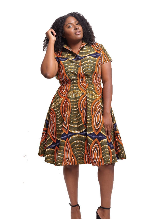 African Print Shayla Shirtdress - Papaya - suakoko betty