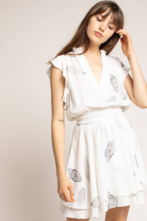 Cream Petal Print Mini Dress