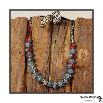 Sanyu Necklace (Small Beads in Navy with African Fabric)