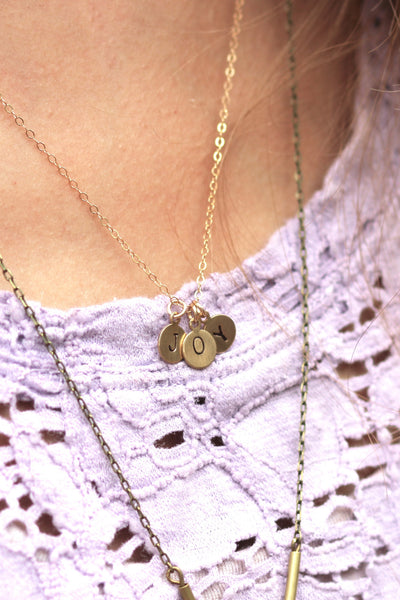 Stamped -- gold stamped charm necklace