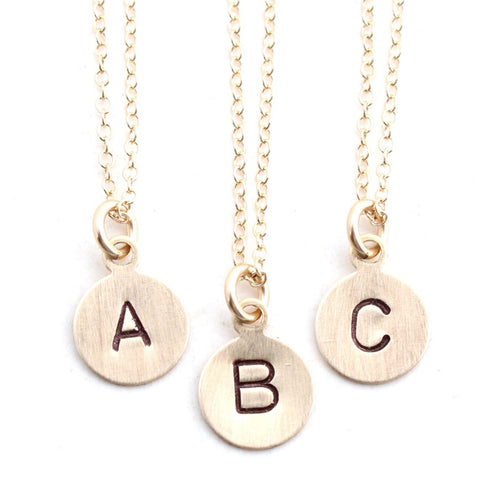 Stamped -- initial or symbol gold charm personalized custom stamped necklace
