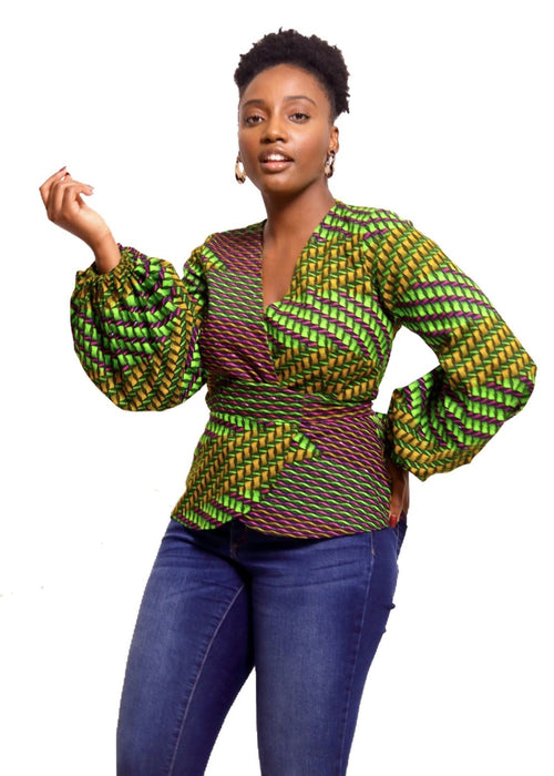African Print Wokie Wrap Blouse - Mustard - suakoko betty