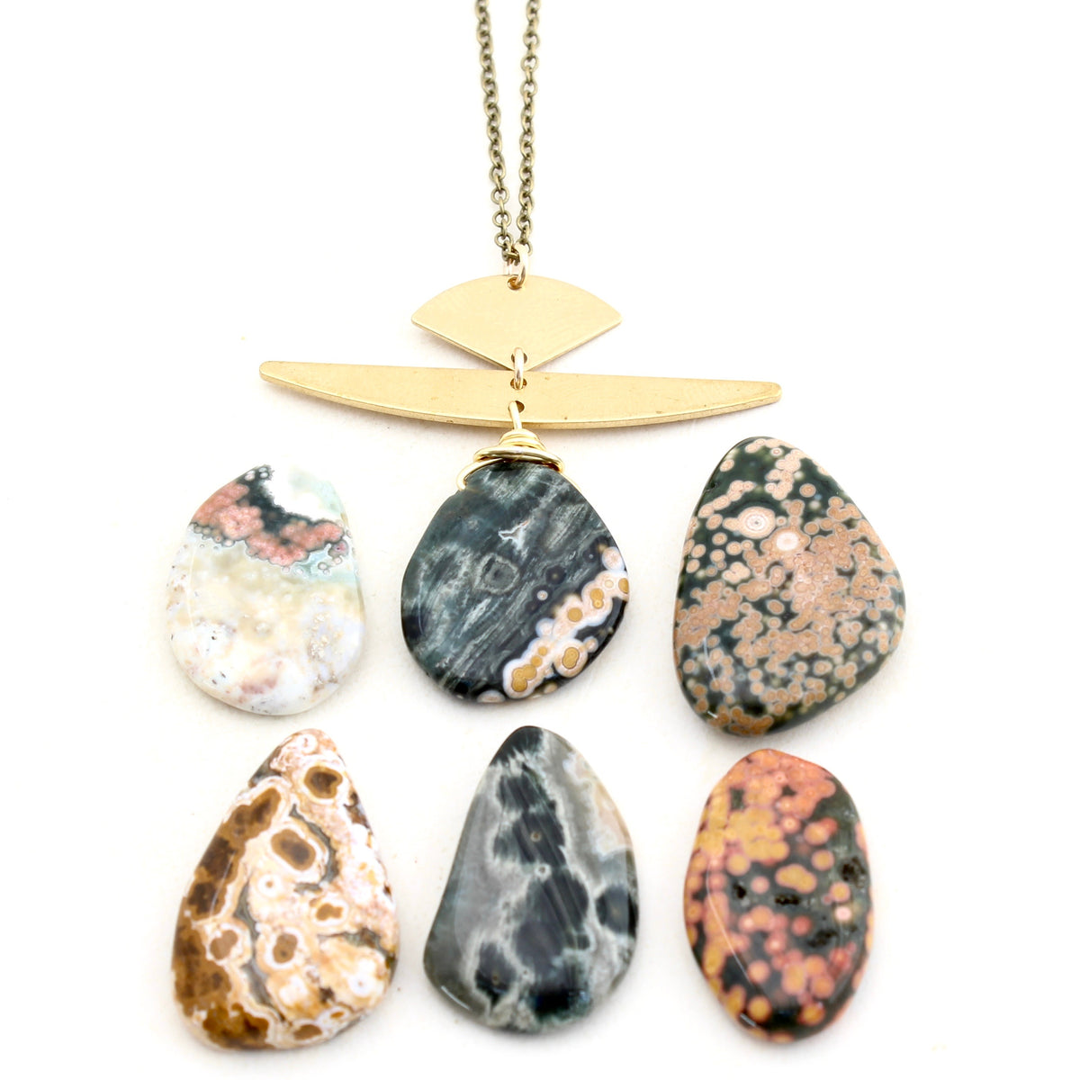August -- Ocean Jasper brass pendant