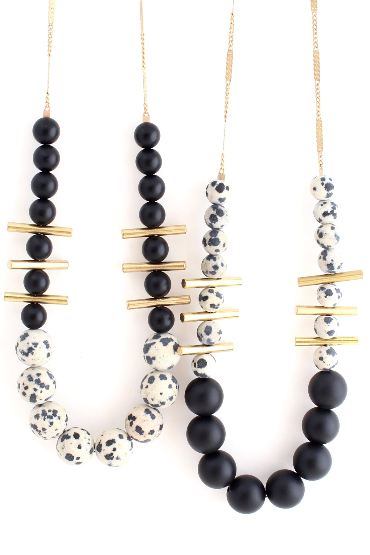 Aussie -- black beaded color-block necklace