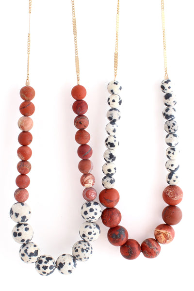 Aussie -- red beaded color-block necklace