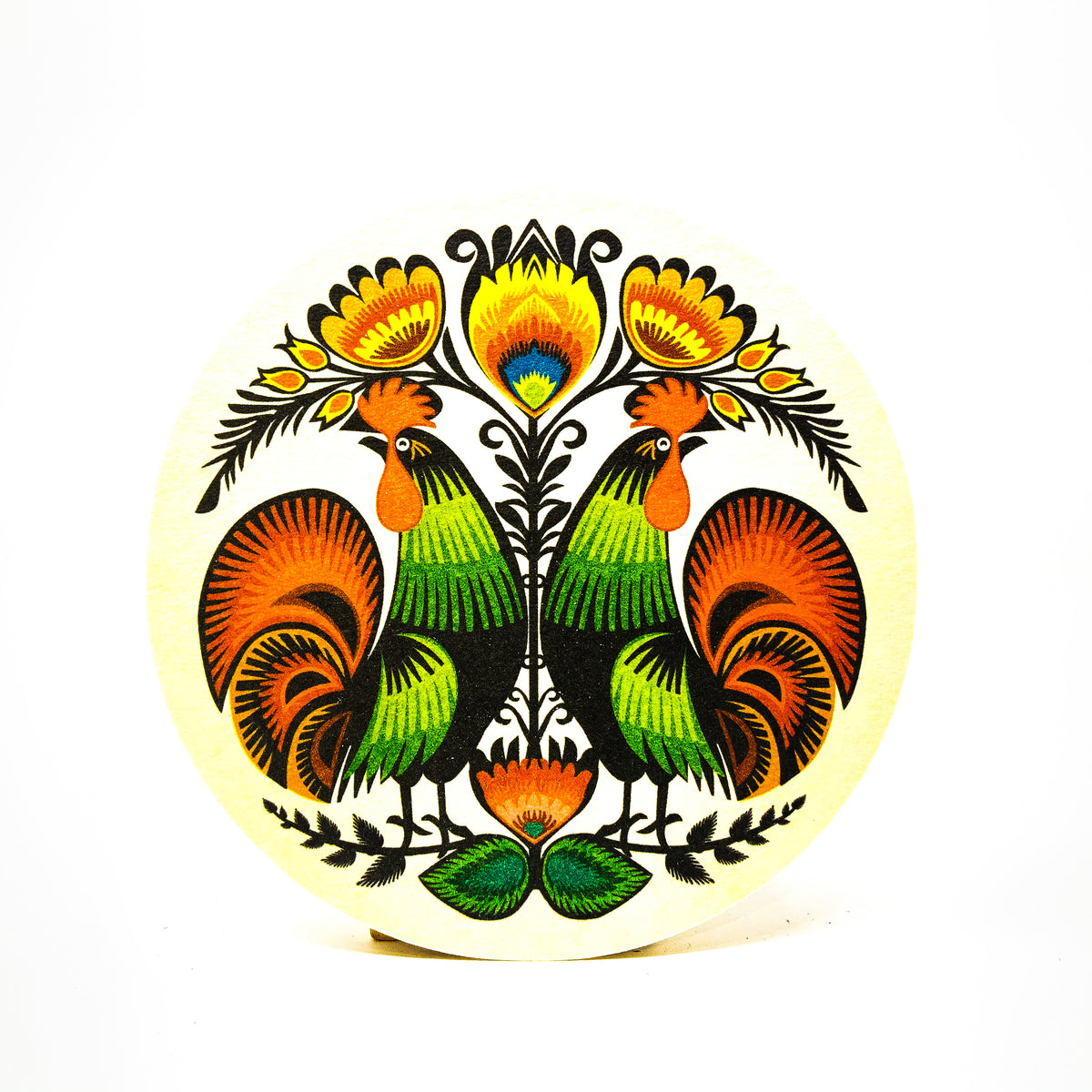 Rooster round coaster set