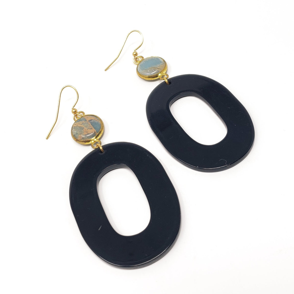 Oval Onyx & Jasper Earrings