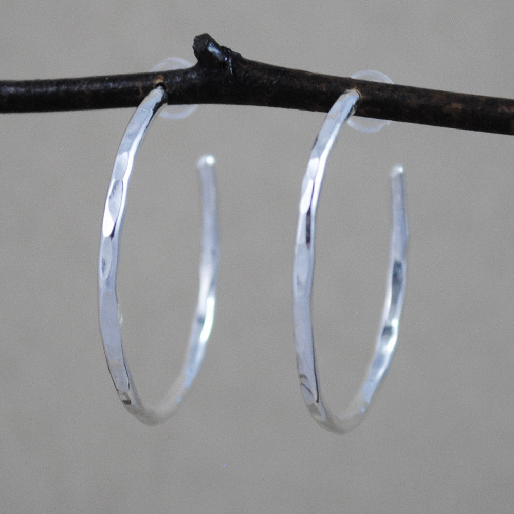 hammered hoop earrings - sterling