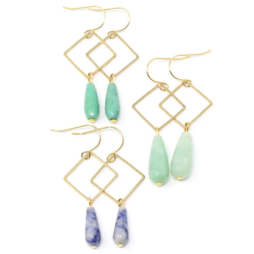 Bay -- brass diamond, dangle, and gemstone teardrop earrings