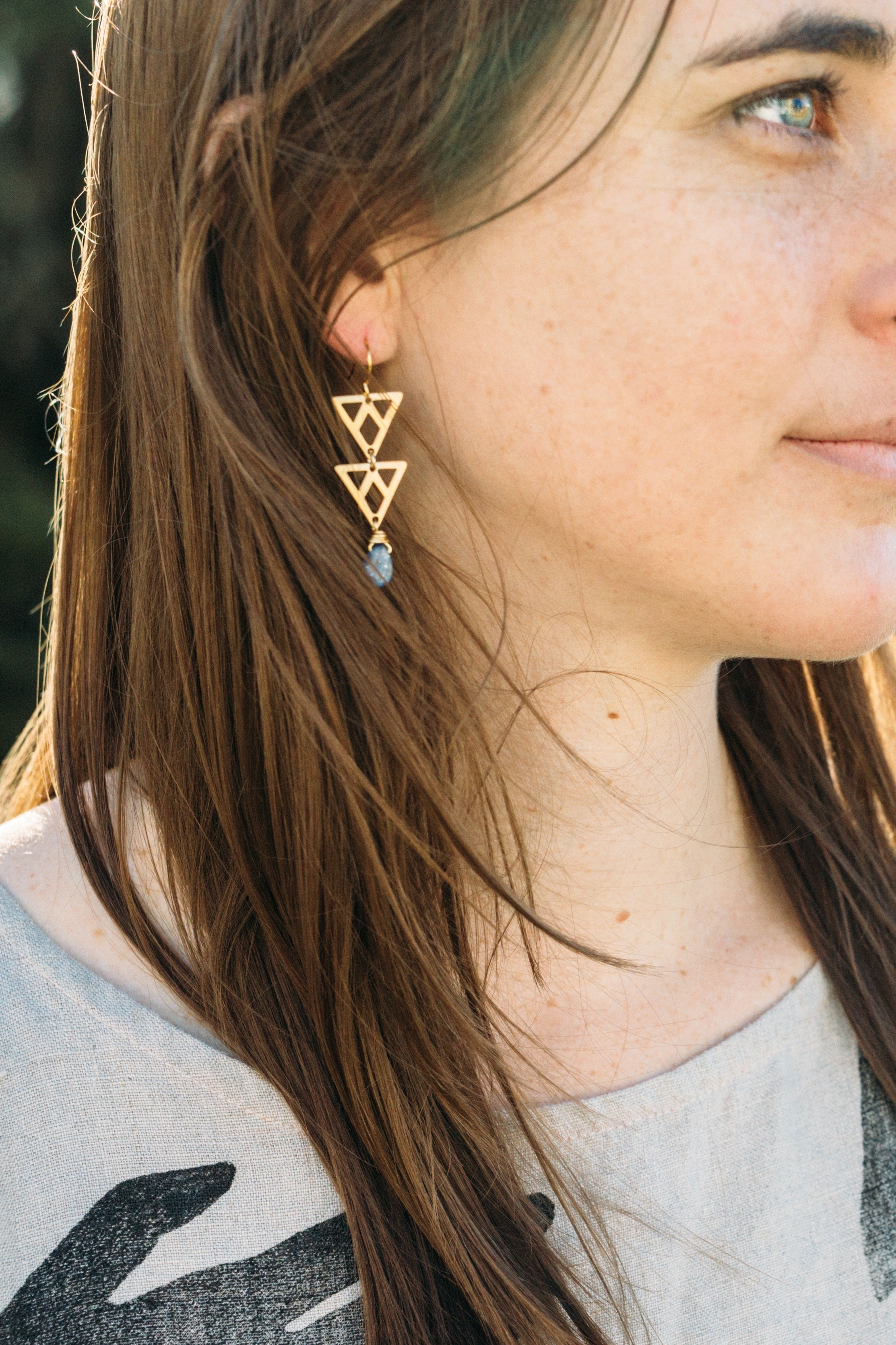 Belz -- gem and double triangle earrings