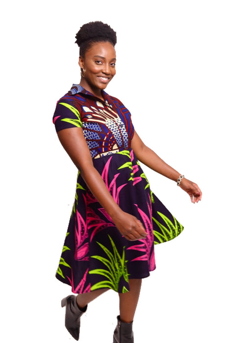 African Print Shayla Shirtdress - Neon/Navy - suakoko betty