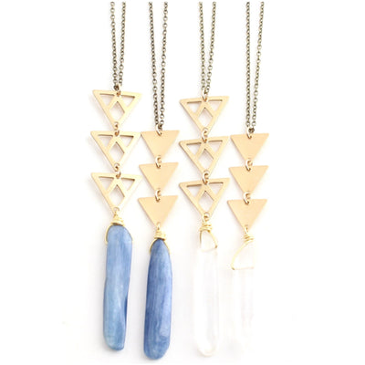 Castello - gemstone spear and triangles necklace